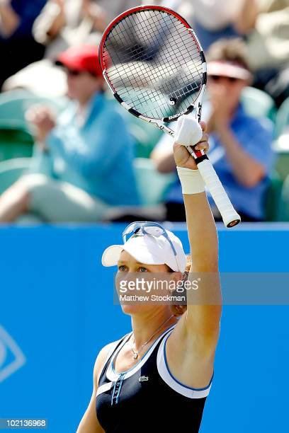 Samantha Stosur of Australia acknowledges the crowd after defeating Daniela Hantuchova of Slovakia during the AEGON International at Devonshire Park...