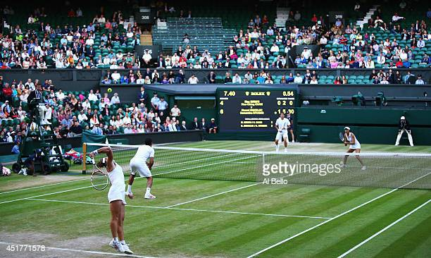 Samantha Stosur of Australia and Nenad Zimonjic of Serbia during the Mixed Doubles final against Max Mirnyi of Belarus and HaoChing Chun of Chinese...
