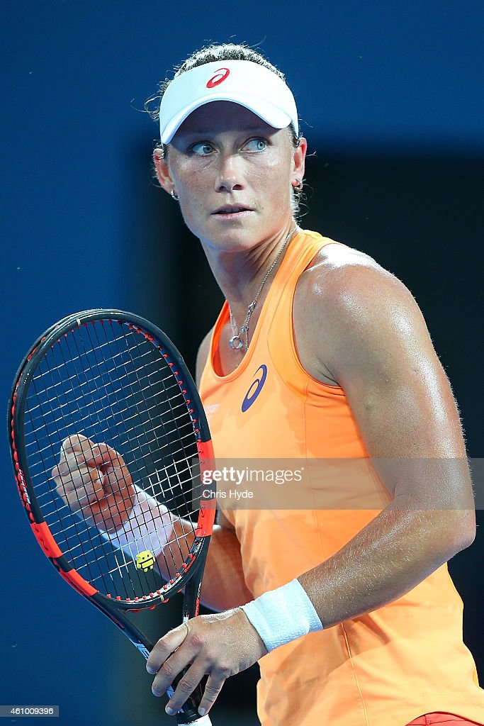 Samantha Stosur of Australia celebrates a point in her match against Varvara Lepchenko of the USA during day one of the 2015 Brisbane International at Pat Rafter Arena on January 4, 2015 in Brisbane, Australia.