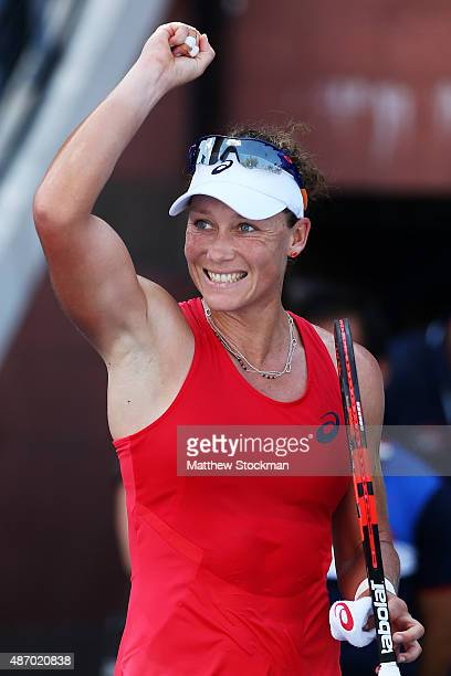 Samantha Stosur of Australia celebrates after defeating Sara Errani of Italy during their Women's Singles Third Round match on Day Six of the 2015 US...