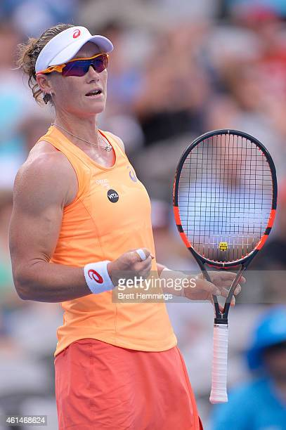 Samantha Stosur of Australia celebrates after winning a point in her second round match against Barbora Zahlavova Strycova of Czech Republic during...