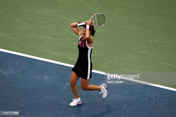Samantha Stosur of Australia celebrates defeating Serena Williams of the United States to win the Women's Singles Final on Day Fourteen of the 2011...