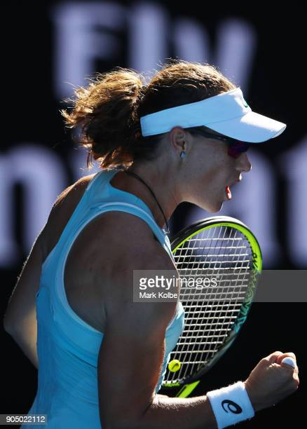 Samantha Stosur of Australia celebrates winning a point in her first round match against Monica Puig of Puerto Rico on day one of the 2018 Australian...