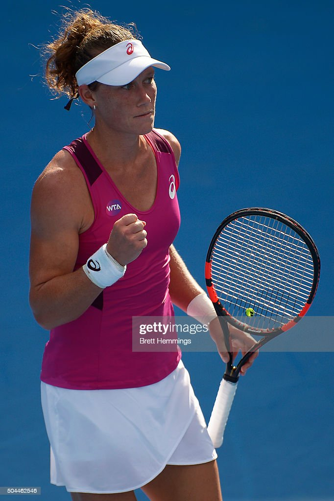 Samantha Stosur of Australia celebrates winning a point in her match against Roberta Vinci of Italy during day two of the 2016 Sydney International at Sydney Olympic Park Tennis Centre on January 11, 2016 in Sydney, Australia.