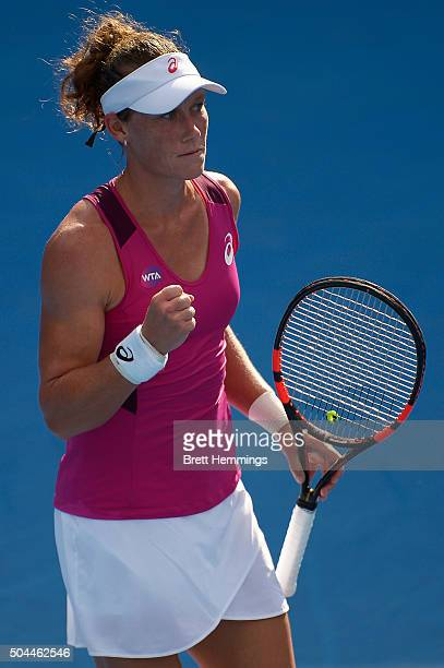 Samantha Stosur of Australia celebrates winning a point in her match against Roberta Vinci of Italy during day two of the 2016 Sydney International...