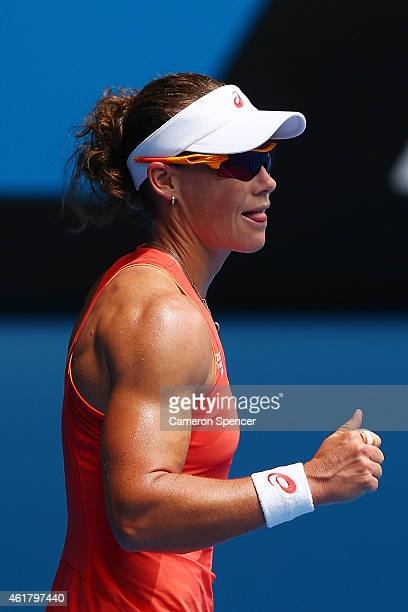 Samantha Stosur of Australia celebrates winning her first round match against Monica Niculescu of Romania during day two of the 2015 Australian Open...