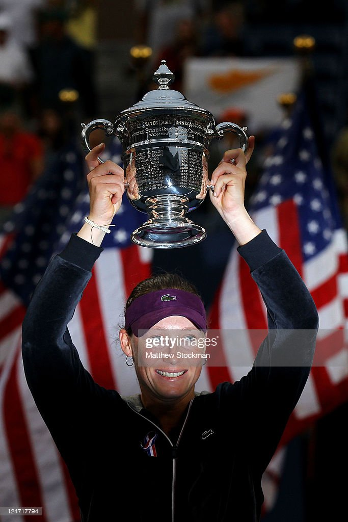 Samantha Stosur of Australia celebrates with the championship trophy after defeating Serena Williams of the United States to win the Women's Singles Final on Day Fourteen of the 2011 US Open at the USTA Billie Jean King National Tennis Center on September 11, 2011 in the Flushing neighborhood of the Queens borough of New York City.