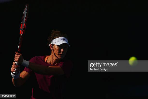 Samantha Stosur of Australia hits a backhand during a practice session ahead of the 2016 Australian Open at Melbourne Park on January 15 2016 in...