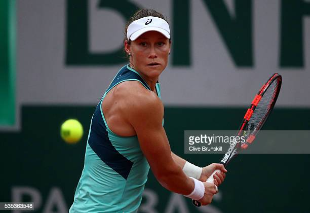 Samantha Stosur of Australia hits a backhand during the Ladies Singles fourth round match against Simona Halep of Romania on day eight of the 2016...
