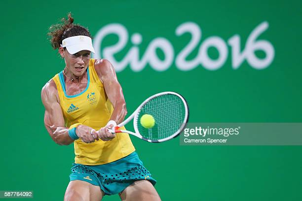 Samantha Stosur of Australia hits during the women's third round singles match against Angelique Kerber of Germany on Day 4 of the Rio 2016 Olympic...