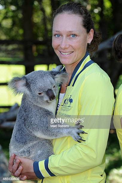Samantha Stosur of Australia holds a koala during the official draw ahead of the Fed Cup Semi Final tie between Australia and Germany at Lone Pine...