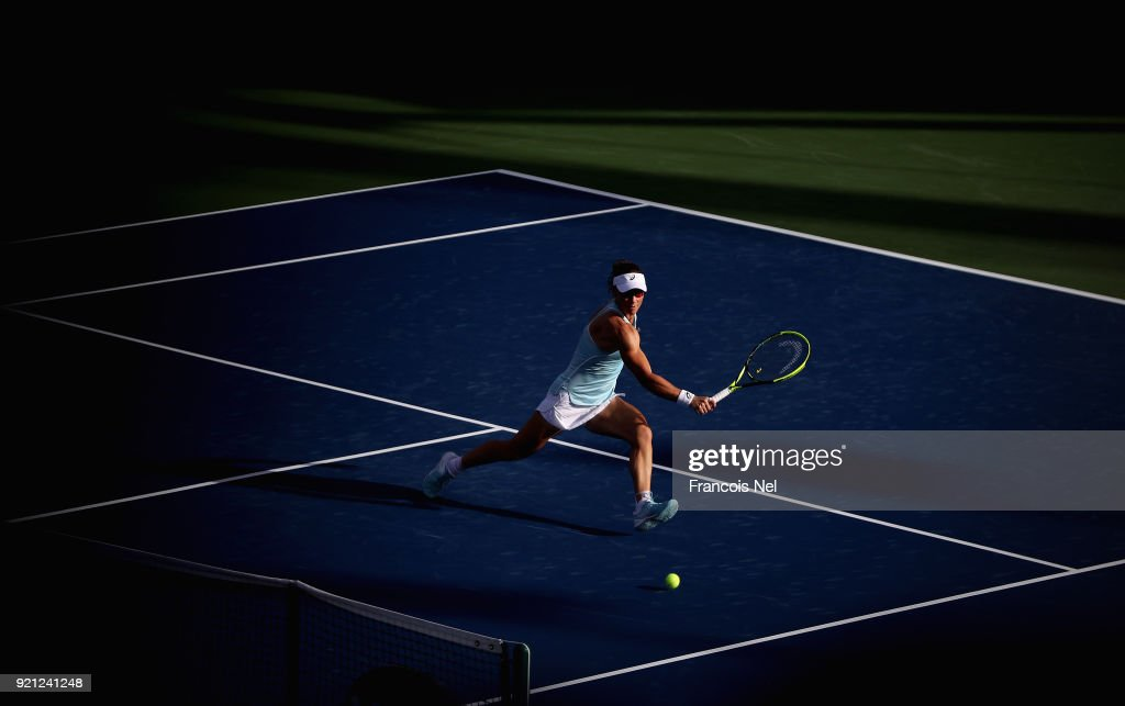 Samantha Stosur of Australia in action against Anett Kontaveit of Estonia during day two of the WTA Dubai Duty Free Tennis Championship at the Dubai Tennis Stadium on February 20, 2018 in Dubai, United Arab Emirates.