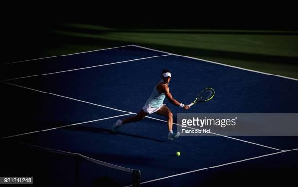 Samantha Stosur of Australia in action against Anett Kontaveit of Estonia during day two of the WTA Dubai Duty Free Tennis Championship at the Dubai...