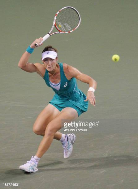 Samantha Stosur of Australia in action during her women's singles second round match against Kimiko DateKrumm of Japan during day three of the Toray...