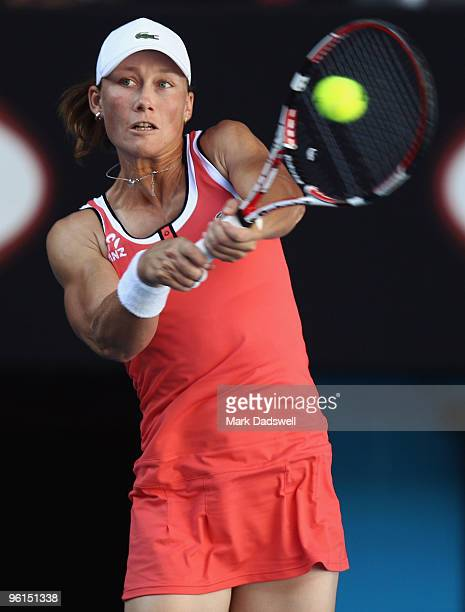 Samantha Stosur of Australia plays a backhand in her fourth round match against Serena Williams of the United States of America during day eight of...