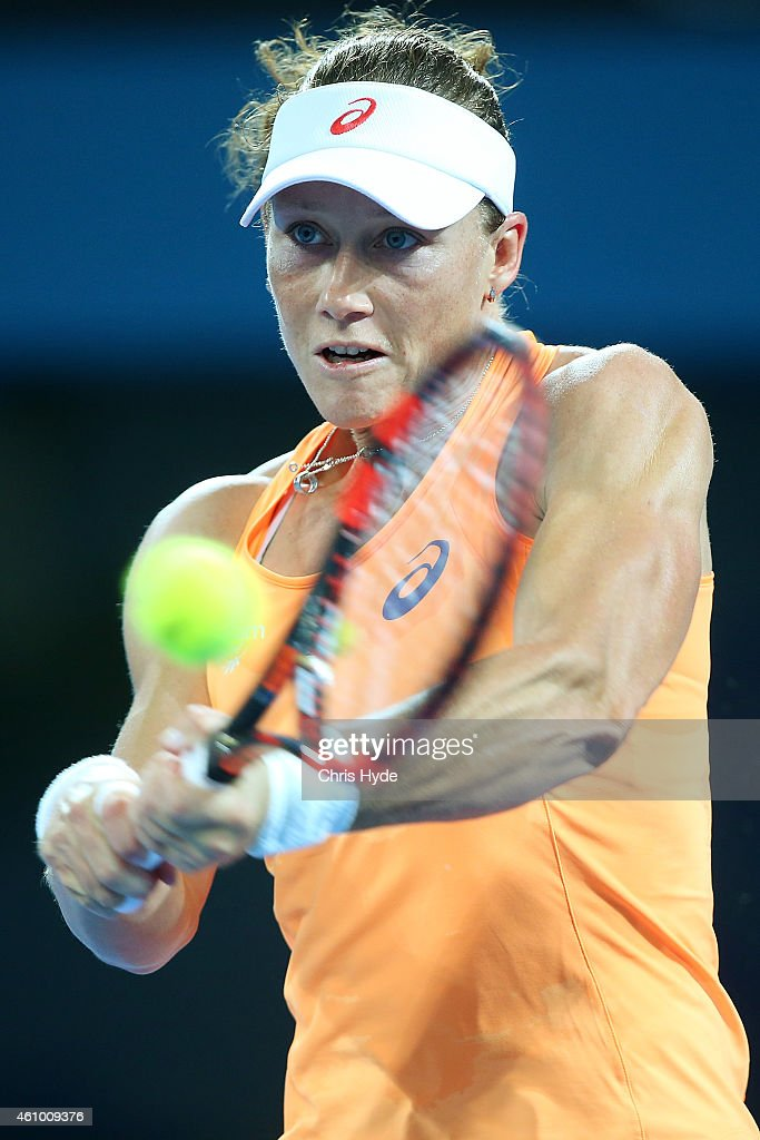 Samantha Stosur of Australia plays a backhand in her match against Varvara Lepchenko of the USA during day one of the 2015 Brisbane International at Pat Rafter Arena on January 4, 2015 in Brisbane, Australia.