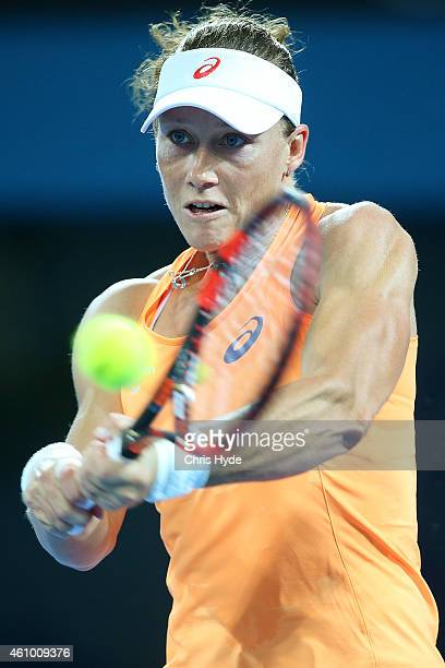 Samantha Stosur of Australia plays a backhand in her match against Varvara Lepchenko of the USA during day one of the 2015 Brisbane International at...