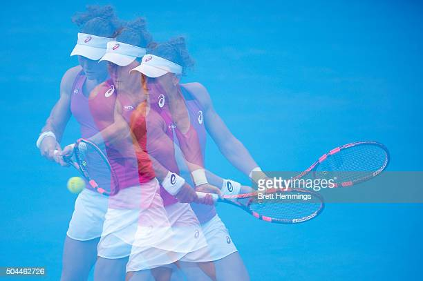 Samantha Stosur of Australia plays a backhand shot in her match against Roberta Vinci of Italy during day two of the 2016 Sydney International at...