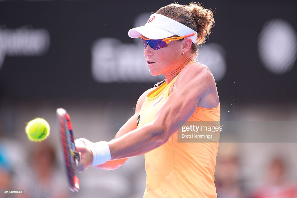 Samantha Stosur of Australia plays a backhand shot in her second round match against Barbora Zahlavova Strycova of Czech Republic during day three of the Sydney International at Sydney Olympic Park Tennis Centre on January 13, 2015 in Sydney, Australia.