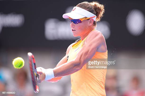 Samantha Stosur of Australia plays a backhand shot in her second round match against Barbora Zahlavova Strycova of Czech Republic during day three of...