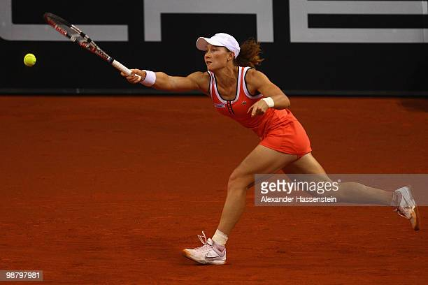 Samantha Stosur of Australia plays a fore hand during her final match against Justine Henin of Belgium at the final day of the WTA Porsche Tennis...