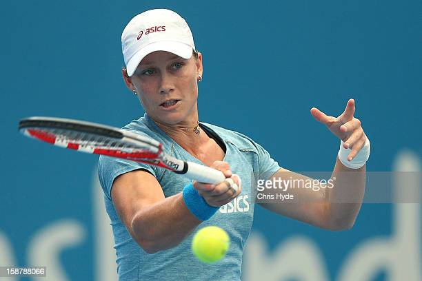 Samantha Stosur of Australia plays a forehand during a practice session at Pat Rafter Arena on December 29 2012 in Brisbane Australia