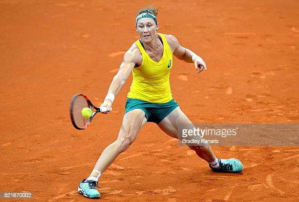 Samantha Stosur of Australia plays a forehand during her match against Coco Vandeweghe of the USA in the Fed Cup tie between Australia and the United...