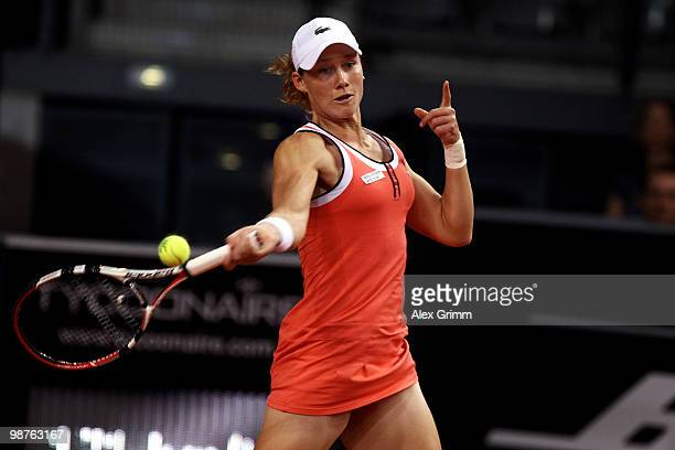 Samantha Stosur of Australia plays a forehand during her quarterfinal match against Na Li of China at day five of the WTA Porsche Tennis Grand Prix...