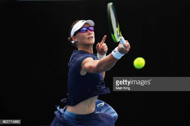 Samantha Stosur of Australia plays a forehand in her 1st round match against Carina Witthoeft of Germany during day three of the 2018 Sydney...