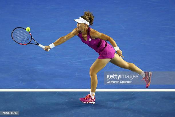 Samantha Stosur of Australia plays a forehand in her first round match against Kristyna Pliskova of the Czech Republic during day one of the 2016...