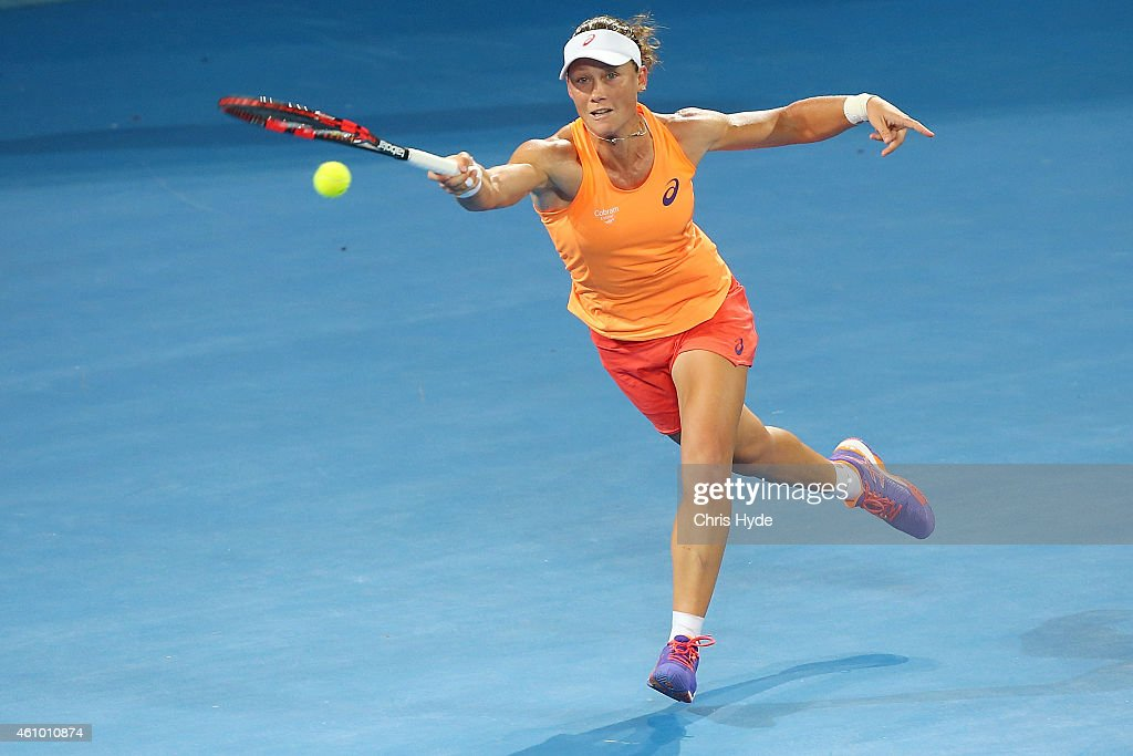 Samantha Stosur of Australia plays a forehand in her match against Varvara Lepchenko of the USA during day one of the 2015 Brisbane International at Pat Rafter Arena on January 4, 2015 in Brisbane, Australia.