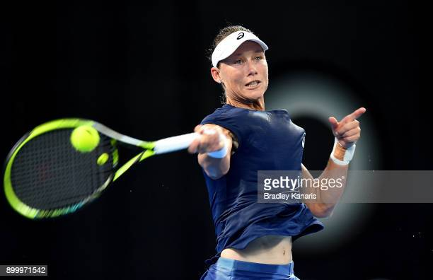 Samantha Stosur of Australia plays a forehand in her match against Anastasija Sevastova of Latvia during day one at the 2018 Brisbane International...