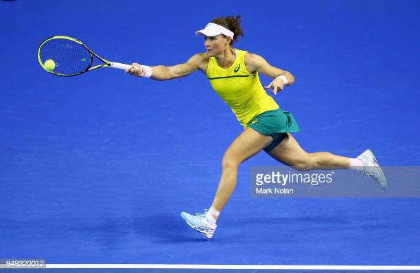 Samantha Stosur of Australia plays a forehand in her match against Lesley Kerkhove of the Netherlands during the World Group PlayOff Fed Cup tie...
