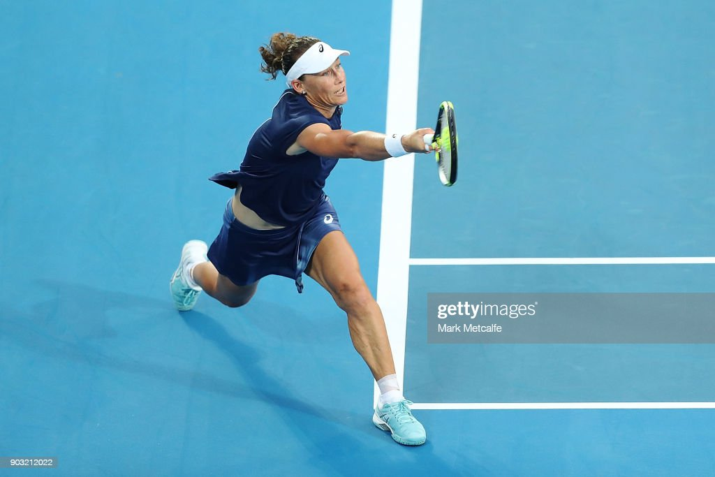 Samantha Stosur of Australia plays a forehand in her second round match against Daria Gavrilova of Australia during day four of the 2018 Sydney International at Sydney Olympic Park Tennis Centre on January 10, 2018 in Sydney, Australia.