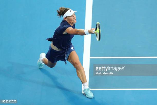 Samantha Stosur of Australia plays a forehand in her second round match against Daria Gavrilova of Australia during day four of the 2018 Sydney...