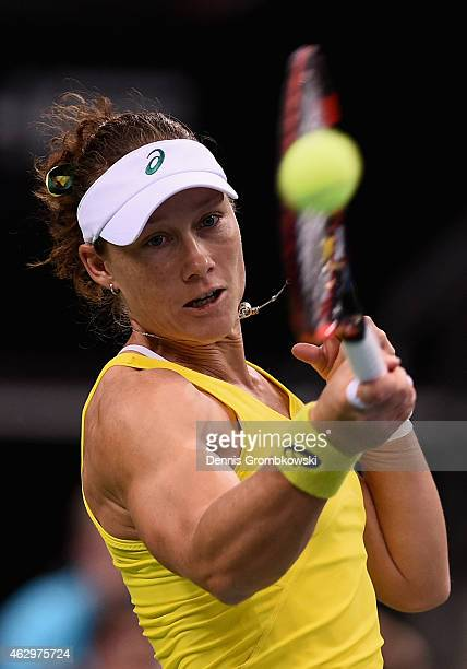 Samantha Stosur of Australia plays a forehand in her single match against Angelique Kerber of Germany during the Fed Cup 2015 World Group First Round...
