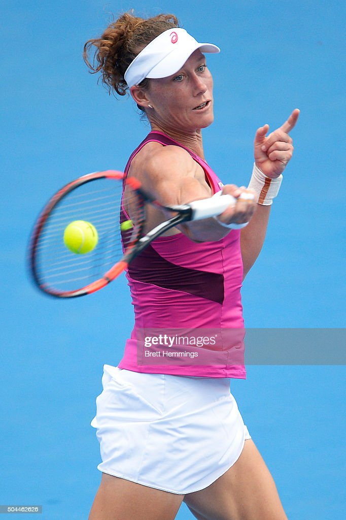 Samantha Stosur of Australia plays a forehand shot in her match against Roberta Vinci of Italy during day two of the 2016 Sydney International at Sydney Olympic Park Tennis Centre on January 11, 2016 in Sydney, Australia.
