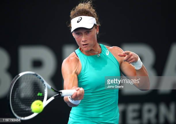 Samantha Stosur of Australia plays a shot in her match against Angelique Kerber of Germany during day one of the 2020 Brisbane International at Pat...