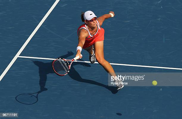 Samantha Stosur of Australia plays a volley during her first round match against Tathiana Garbin of Italy during day two of the WTA Barclays Dubai...