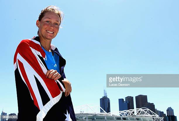 Samantha Stosur of Australia pose at Grand Slam Oval during day seven of the 2010 Australian Open at Melbourne Park on January 24 2010 in Melbourne...
