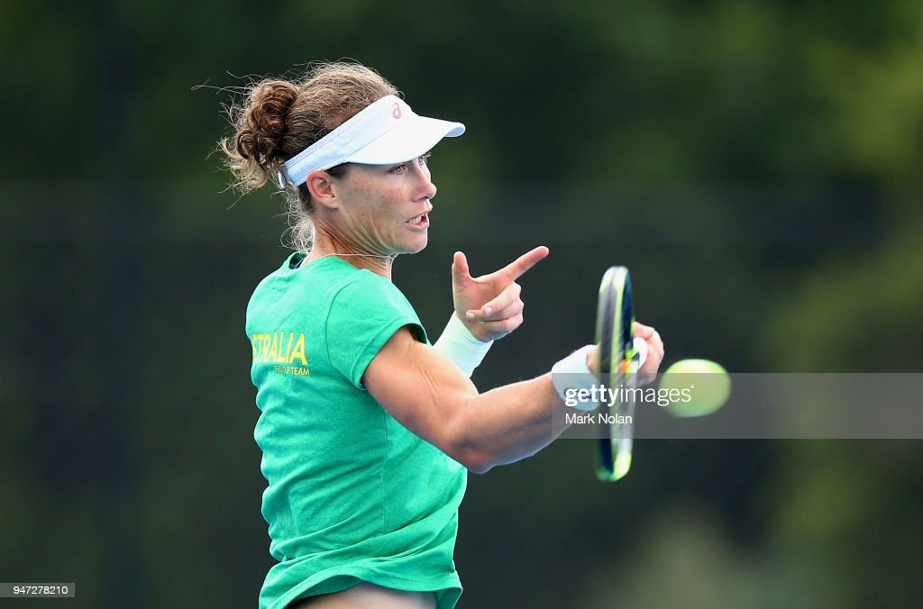 Samantha Stosur of Australia practices after a media opportunity ahead of the Australia v Netherlands Fed Cup World Group Play-off at Wollongong Tennis Club on April 17, 2018 in Wollongong, Australia.
