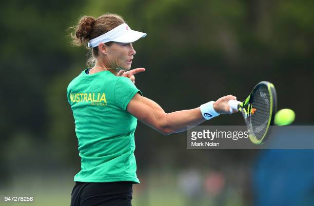 Samantha Stosur of Australia practices after a media opportunity ahead of the Australia v Netherlands Fed Cup World Group Playoff at Wollongong...