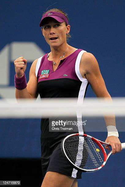 Samantha Stosur of Australia reacts after winning the first set against Serena Williams of the United States during the Women's Singles Final on Day...