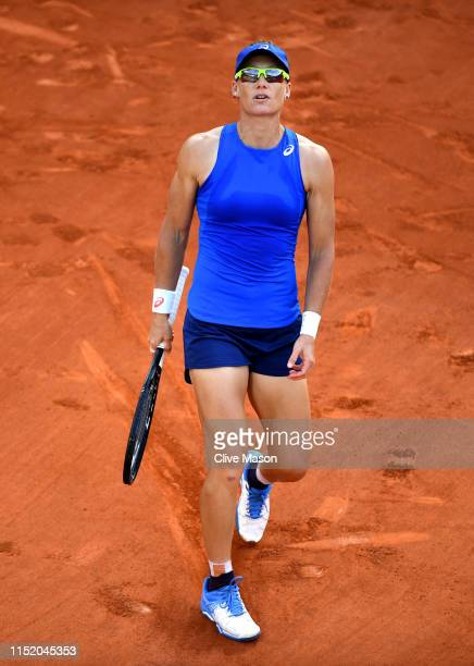 Samantha Stosur of Australia reacts during her ladies singles first round match against Barbora Strycova of The Czech Republic during Day two of the...