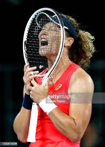 Samantha Stosur of Australia reacts during her Women's Singles first round match against Catherine McNally of the United States of America on day one...