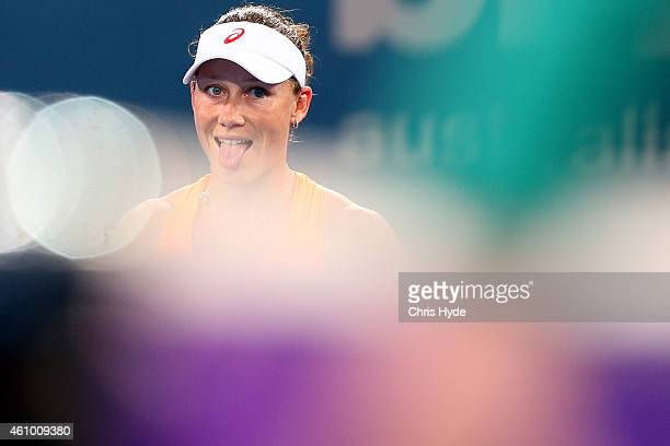 Samantha Stosur of Australia reacts in her match against Varvara Lepchenko of the USA during day one of the 2015 Brisbane International at Pat Rafter...