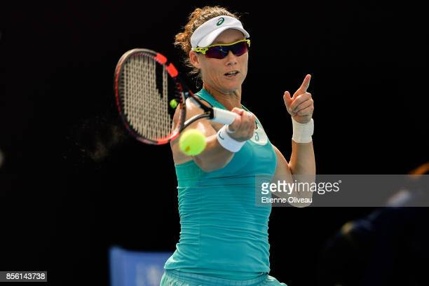 Samantha Stosur of Australia returns a shot against Katerina Siniakova of Czech Republic during their first round match on day two of the 2017 China...