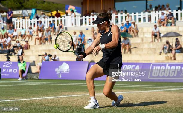 Samantha Stosur of Australia returns a shot during her women's singles match against Anastasija Sevastova of Latvia during day sixth of the Mallorca...