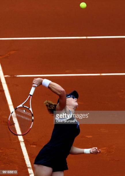 Samantha Stosur of Australia serves against Patty Schnyder of Switzerland in their third round match during the Mutua Madrilena Madrid Open tennis...