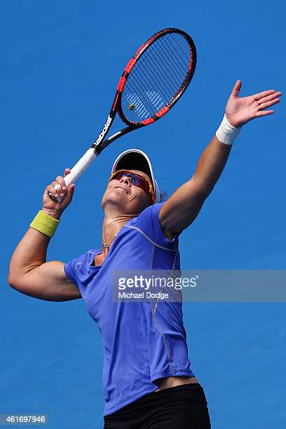 Samantha Stosur of Australia serves during a practice session ahead of the 2015 Australian Open at Melbourne Park on January 18 2015 in Melbourne...
